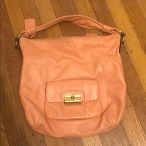 Peach Coach Leather Tote with Strap